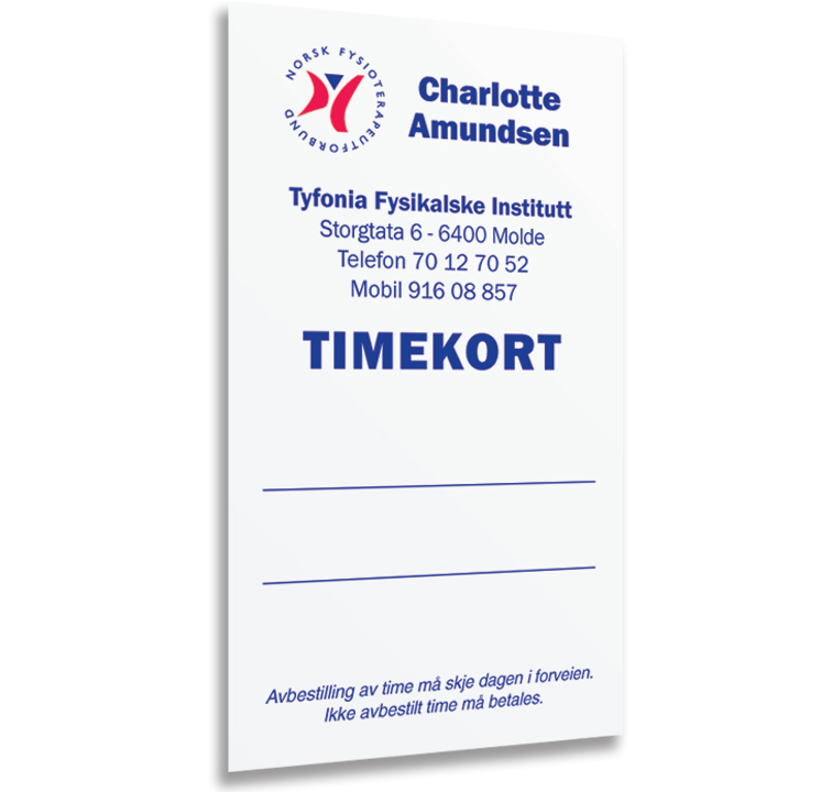 Timekort Fysioterapi Front