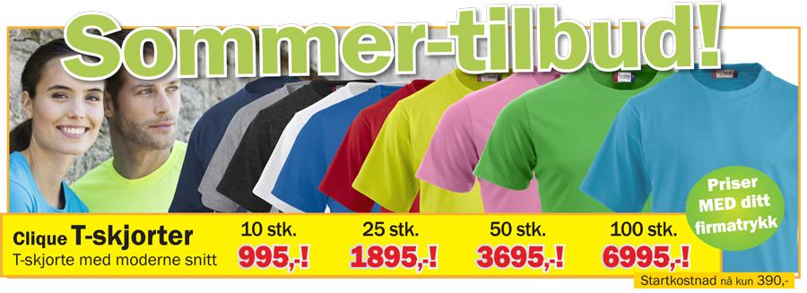 T-skjorter med logo sommertilbud