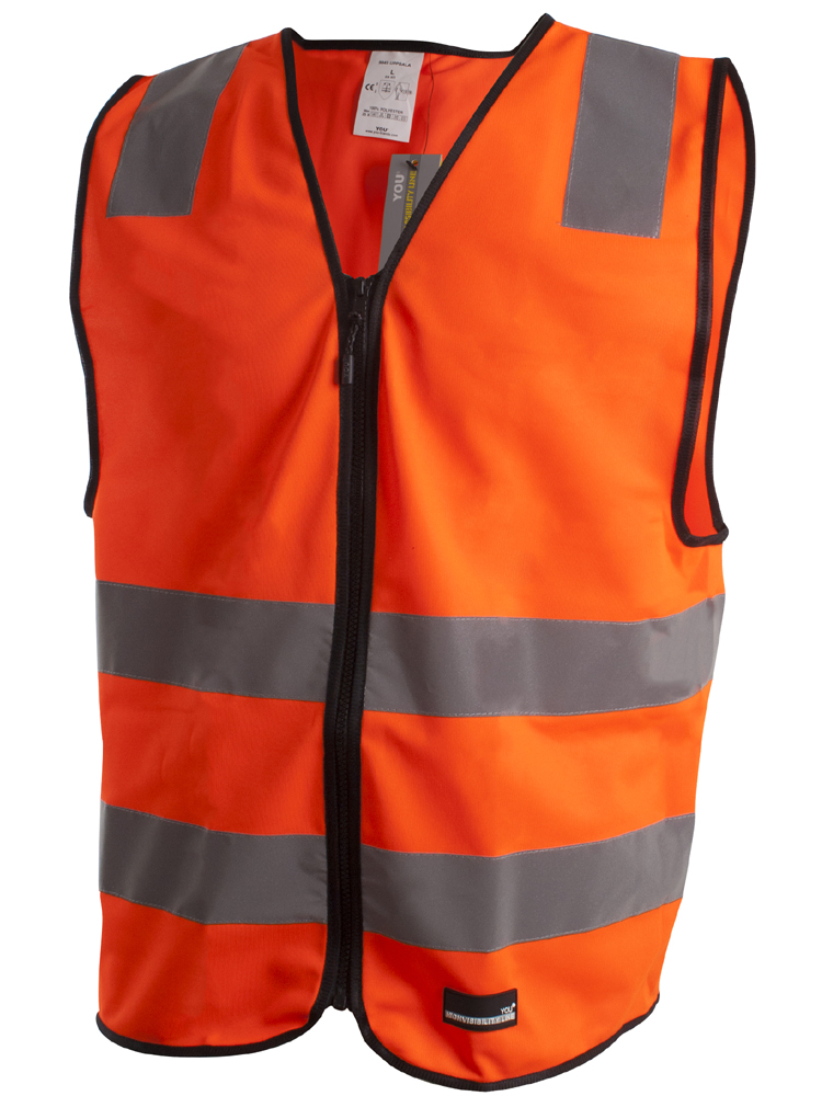 Refleksvest Med Glidelås Uppsala, Safety Orange