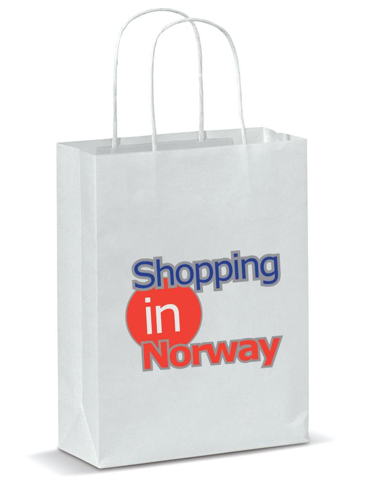 Papirposer Med Logotrykk, Hvit